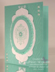 "Stampin' Up! Lovely Romance stamp set; Whisper White and Coastal Cabana card stock; Eastern Elegance dsp; Coastal Cabana ink; Big Shot Apothecary Accents and Ovals Collection framelits dies; Big Shot Beautiful Baroque embossing folder; Itty Bitty Punch pack; Coastal Cabana 3/8"" Ruffle Stretch trim and Basic Pearl Jewels."