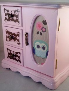 Pink Owl Upcycled Jewelry Box by JewelryBoxesEtc on Etsy, $45.00