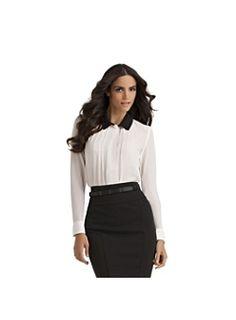Kardashian Kollection Women's Pintuck Tuxedo Blouse
