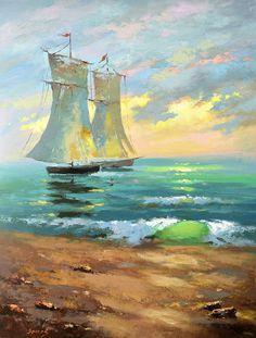 """Dmitry Spiros ~ """"Bateaux et coucher de Soleil"""""""