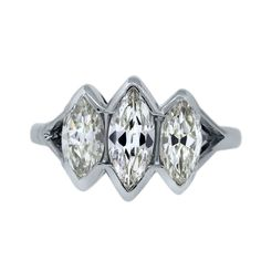 Platinum Three Stone 2ctw Marquise Diamond Engagement Ring