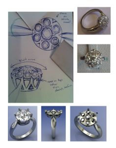 Gatsby engagement ring design and CAD mock up
