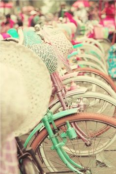 Shabby chic bicycle row, pretty hats