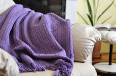 Purple cotton woven throw / blanket