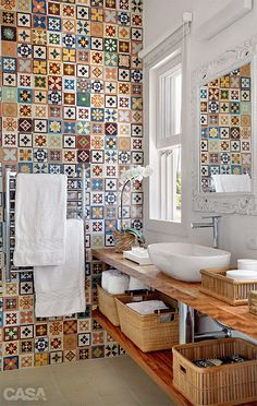 patterned moroccan tile in the bathroom