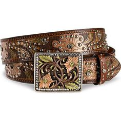 hatcountry Rhinestone Painted Floral Leather Belt - Womens Belt ♥✤ | Keep the Glamour | BeStayBeautiful