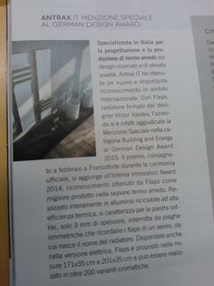 """Il radiatore Flaps è stato pubblicato sulla rivista """"Il Bagno"""" Flaps radiator has been published in """"Il Bagno"""" magazine"""