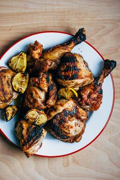 Smoky, savory grilled chicken with a bright and punchy grilled lemon and garlic relish