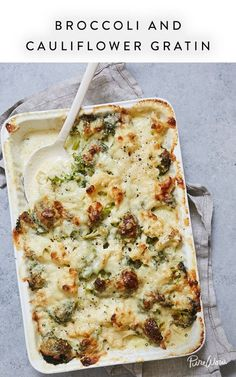 Broccoli and Cauliflower Gratin via @PureWow. Every cook needs a few go-to vegetable side dishes in her back pocket. So let us introduce you to one that we want to serve at basically every single meal: broccoli and cauliflower gratin. It brings two veggies together in cheesy harmony, and what could be tastier than that? Confession: We love gratins. And this one is a stellar substitute for green bean or broccoli casserole.