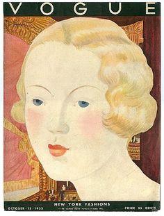 Original Oct 15 1932 Vogue Magazine Cover Georges Lapape