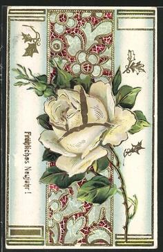 Postally used 1913 New Year greetings German Postcard
