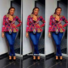 Ankara print blazer on denim Jeans
