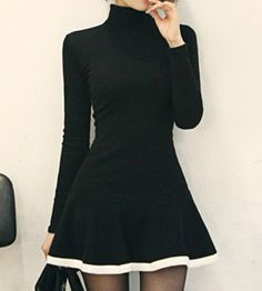 Turtleneck Long Sleeves Color Splicing Flounce Stylish Dress For Women
