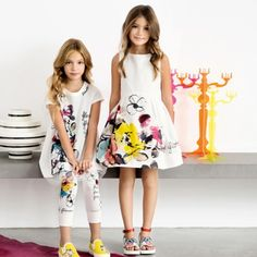 Simonetta Girls White Floral Watercolour Dress - SALE