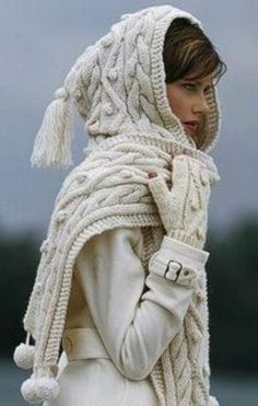 Cable Knit hooded scarf #cozy