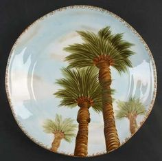 Tabletops Unlimited Baja Dinner Plate, Fine China Dinnerware   Palm Trees,Smooth