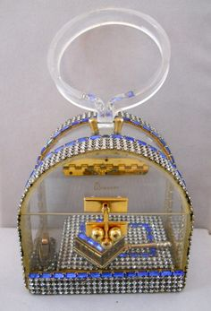 Wiesner Vintage Lucite and Rhinestone Purse with Accessories