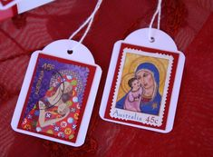 Recycle Christmas Postage Stamp  into Gift Tags
