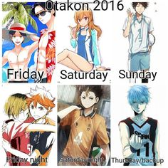 I think I FINALLY figured my Otakon like up Praise the lords  It may change last minute though but for be this is what I got right now.  Lol my line up is basically sports anime but im sports trash so we good Plus I don't wanna die from a best stroke even tho I wanna bring Edward to this con so bad  Oh well  Thursday (line con) : I will be Kuroko with @shadow_prince_cosplay as my Nigou Also bringing Kuroko as a backup in case anything happens  Friday : I will be beach Eren for a beach Aot…