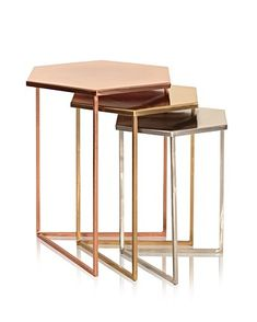 Pin for Later: Jump On the Copper Trend With These 42 Home Accessories Oliver Bonas Set of Three Hexagon Metallic Nesting Tables Oliver Bonas Set of Three Hexagon Metallic Nesting Tables