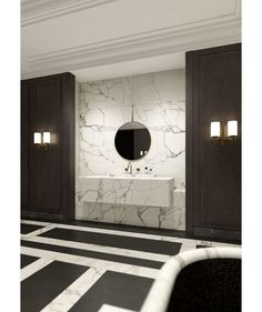 Gorgeous black and white marble bathroom The bathroom Maharajah by Joseph Dirand for Louis Vuitton Bathroom Spa, Bathroom Toilets, Bathroom Interior, Modern Bathroom, Marble Bathrooms, Washroom, Master Bathroom, Black Marble Bathroom, Narrow Bathroom