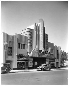 """Streamline Deco Brayton Theater at 2157 Atlantic Boulevard in Long Beach. It was built in seen here in late 1933 showing """"Her First Mate."""" The theater was rebuilt after sustaining damage in the 1933 earthquake, demolished in 1972 and is now a parking lot. Casa Art Deco, Art Deco Home, 1920s Architecture, Architecture Design, California Architecture, Art Nouveau, Habitat Collectif, Long Beach California, California Usa"""