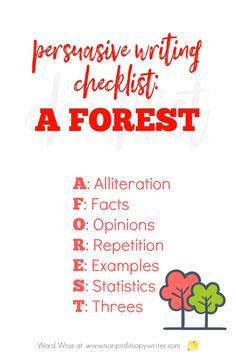 Use A FOREST as a #PersuasiveWriting checklist with Word Wise at Nonprofit Copywriter #WritingTips #ContentWriting #Copywriting Easy Writing, Writing Tips, Persuasive Writing Techniques, Phonetic Sounds, Writing Checklist, Alliteration, Copywriter, Three Words, Internet Marketing