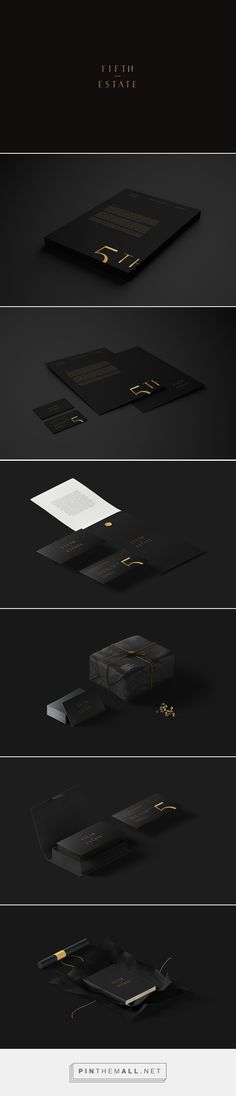 5th Estate on Behance by Daniel Lasso Casses curated by Packaging Diva PD. Simplicity and beauty in black branding identity packaging.