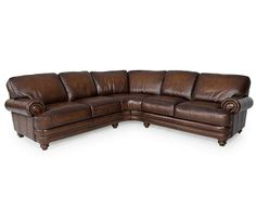 """Brett Leather Sectional Sofa, 2 Piece (Right-Arm Facing Sofa & Left-Arm Facing Sofa) 110""""W x 110""""D x 32""""H - Sectional Sofas - furniture - Ma..."""