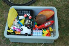 A Toy Tub | 31 Things That Will Make Camping With Your Kids So Much Easier. Toy tub. All in one place.