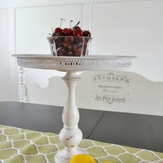 Repurposing a thrift store wooden candle holder and silver serving tray into a Pedestal Tray | The Interior Frugalista