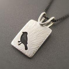 Happy Birdie! Spring Robin Sterling Silver Pendant by Beth Millner Jewelry- www.bethmillner.com