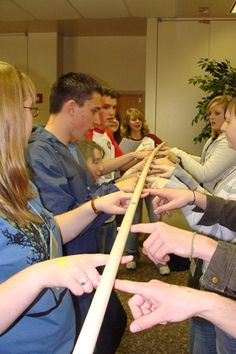 Group Games: helium stick, human ladder, shark island, the couch game.