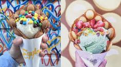 Hong Kong egg waffles have become the newest prettiest ice cream trend Waffle Ice Cream, Make Ice Cream, Resturant Menu, Sugar Cravings, Places To Eat, Delicious Desserts, Waffles, Sweet Tooth, Sweet Treats