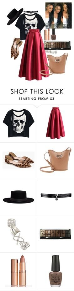 """""""Me, My style and I"""" by shirlyn-n ❤ liked on Polyvore featuring Chicwish, J.Crew, Joanna Maxham, Janessa Leone, Fallon, Topshop, Charlotte Tilbury, OPI and powerlook"""