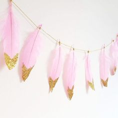 Pink and Gold Glitter Dipped Feather Garland by WonderlandStan