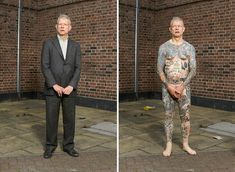 People who love to get tattoos come in all different shapes and sizes, which London-based photographer Alan Powdrill proves in his new Covered photo series. The people in his series, many of whom are tattooed chin-to-toe, are all walking, breathing works of art.