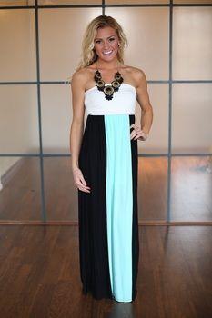 Perfect in Color Block Maxi Dress Mint - Modern Vintage Boutique