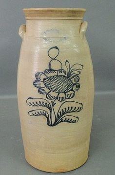 Eight-gallon stoneware butter churn, c.1880, J. Burger, : Lot 249