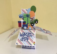 3-D, Pop up, Box  Card, Planes, Trains and Automobiles, Boy Birthday Card, Gift…