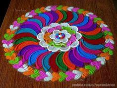 YouTube Rangoli Border Designs, Kolam Designs, Mehndi Designs, Diwali Special Rangoli Design, Rangoli Designs Diwali, Beautiful Mehndi Design, Beautiful Rangoli Designs, Diwali Decorations, Flower Decorations