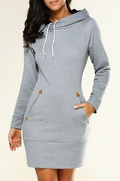 $20.07 Long Sleeve Mini Hoodie Dress