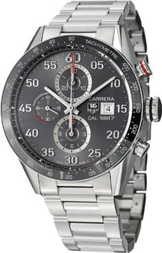 Tag Heuer Men's 'Carrera' Stainless Steel Grey Dial Chronograph Watch:Amazon:Watches