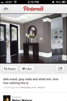 New Dark Wood Floors Grey Walls White Trim Black Doors 18 Ideas Black Interior Doors, Black Doors, Grey Walls White Trim, Grey Wood Floors, Wood Flooring, Dark Wood Kitchens, Bedroom Wall Colors, Home Remodeling, Houston