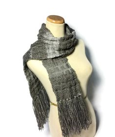 Granite Knit Scarf Gray Scarf Charcoal Scarf by ArlenesBoutique, $65.00