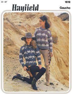 Pullover Sweater in Southwest Design Vintage Knitting Pattern for download Bust 32-40