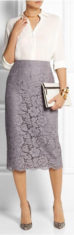 Valentino Gray lace and silk-organza midi skirt cotton, viscose, polyamide) Skirt Outfits, Dress Skirt, Lace Skirt, Lace Dress, Midi Skirt, Dress Up, Jw Fashion, Office Fashion, Modest Fashion