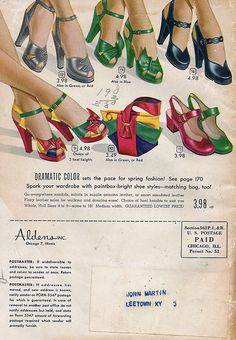 Colourful, absolutely lovely heels from a 1949 Alden's catalog. #vintage #1940s #shoes