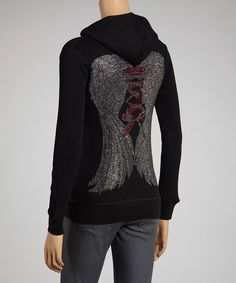 Look what I found on #zulily! Black Rhinestone Wing Zip-Up Hoodie by Sweet Girl #zulilyfinds