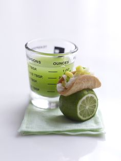 {cod fish tacos served on limes with a margarita shot ~ peter callahan}
